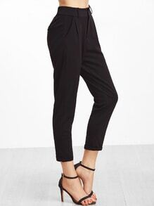 Black Cuffed Patch Pants