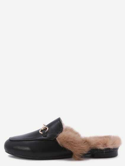 Black Faux Leather Fur Lined Slippers