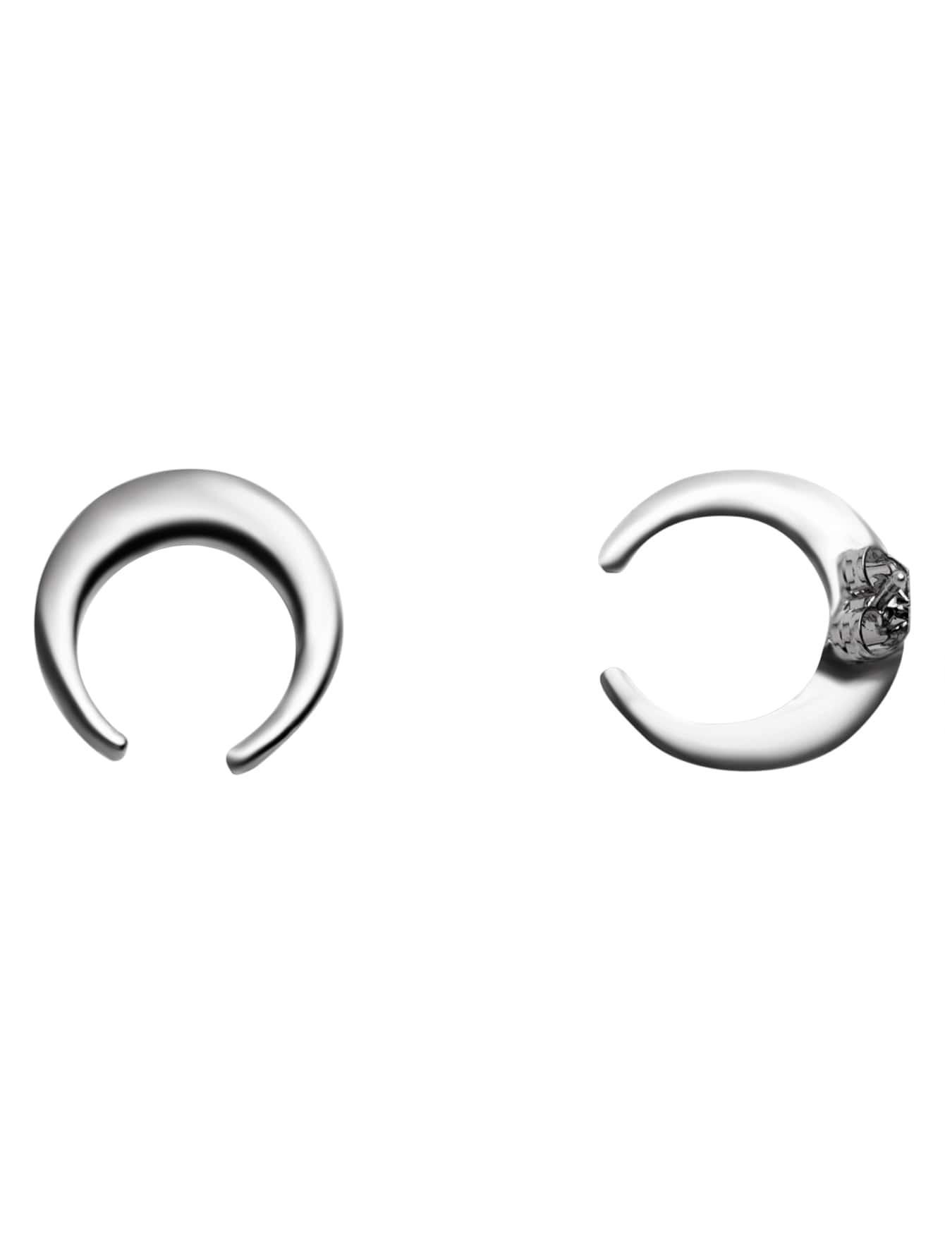 silver plated moon simple stud earrings
