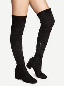 Black Knee High Chunky Heel Boots