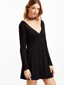Black Deep V Neck A-Line Dress