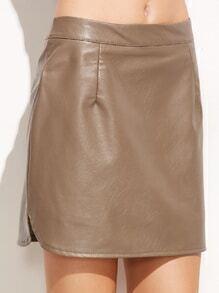 Khaki Slit Side Curved Hem PU Leather Skirt