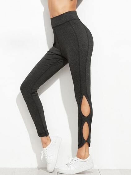 Dark Grey Cut Out Side Leggings