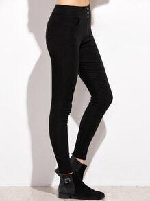 Black Button Pockets Skinny Leggings