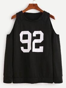 Sweat-shirt imprimé numéro épaules ouvertes - noir