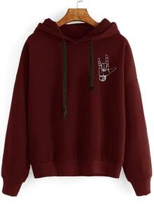 Sweat-shirt imprimé geste avez capuche - bordeaux