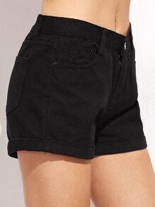 Black Roll Hem Button Denim Shorts