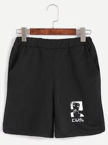 Black Girl Print Elastic Waist Shorts