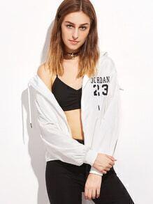 Jacket con estampado capucha y cremallera - blanco