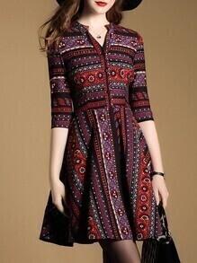 Multicolor V Neck Tribal Print Dress