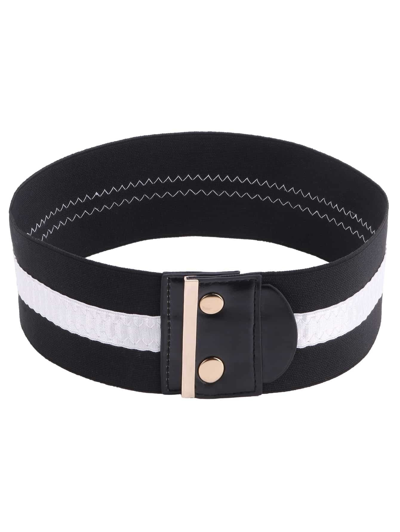 black wide button elastic belt