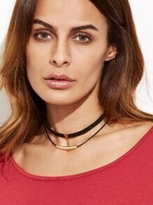 Black Double Layer Metal Trim Choker Necklace