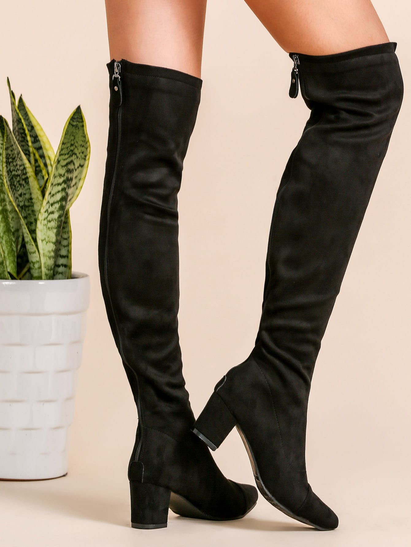 Black Faux Suede Point Toe Thigh High Boots shoes161007807
