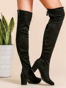 Black Faux Suede Point Toe Thigh High Boots