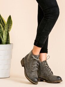 Distressed PU Round Toe Lace Up Cork Heel Short Boots