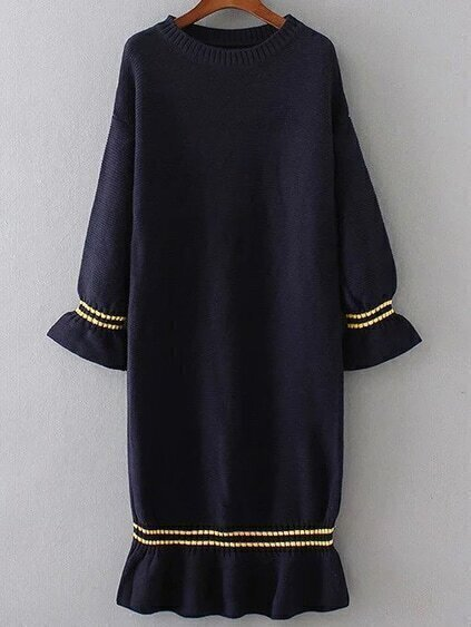 Navy Bell Sleeve Ruffle Hem Knit Dress