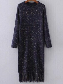 Navy Drop Shoulder Fringe Hem Knit Dress