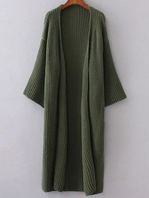 Army Green Collarless Drop Shoulder Long Cardigan sweater161007201