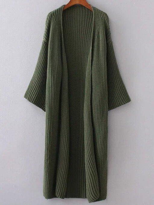 Army Green Collarless Drop Shoulder Long Cardigan