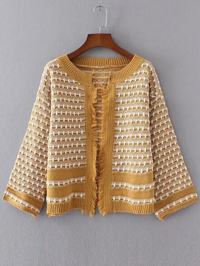 Ginger Contrast Trim Fringe Detail Sweater Coat sweater161007206