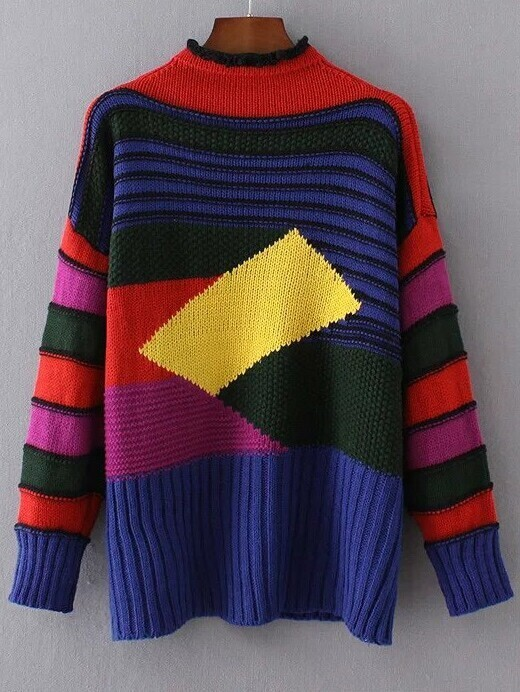 Color Block Crew Neck Ribbed Trim Sweater sweater161007207