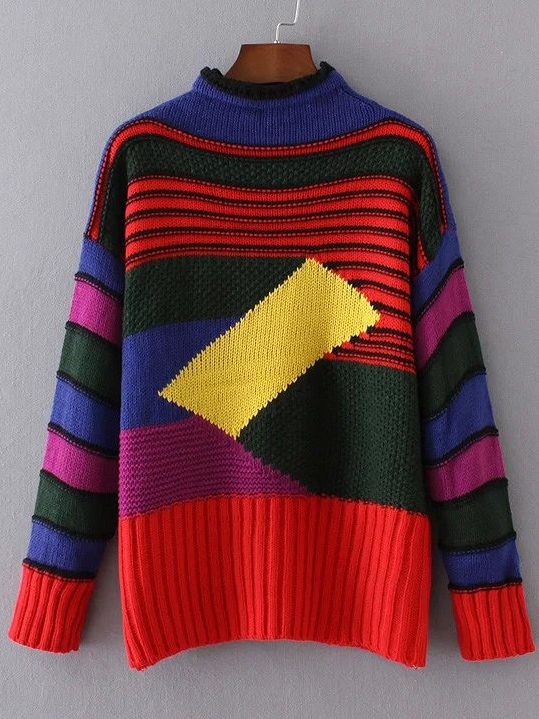 Color Block Crew Neck Ribbed Trim Sweater
