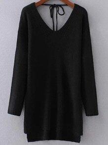 Jersey asimétrico con escote V y cordón - negro