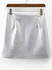 Silver Side Zipper PU Skirt