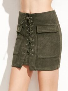 Army Green Suede Lace Up Pockets Bodycon Skirt