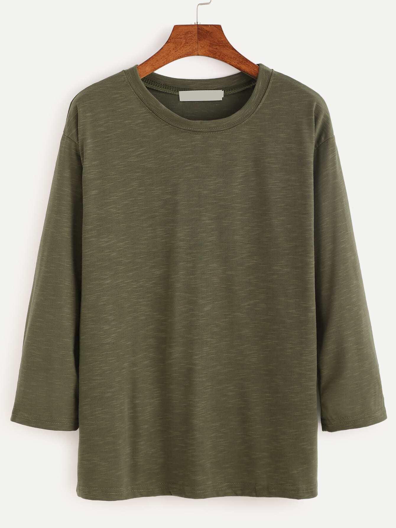 Army green three quarter length sleeve t shirtfor women romwe for Three quarter length shirt
