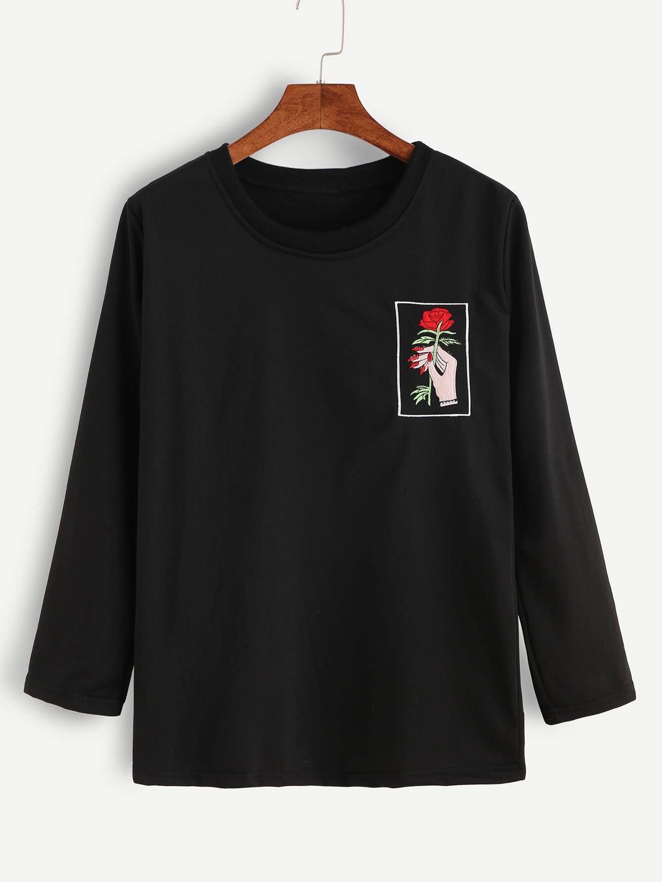 Black hand and rose embroidery t shirtfor women romwe