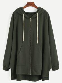Sudadera con manga raglán y capucha cremallera - verde oscuro