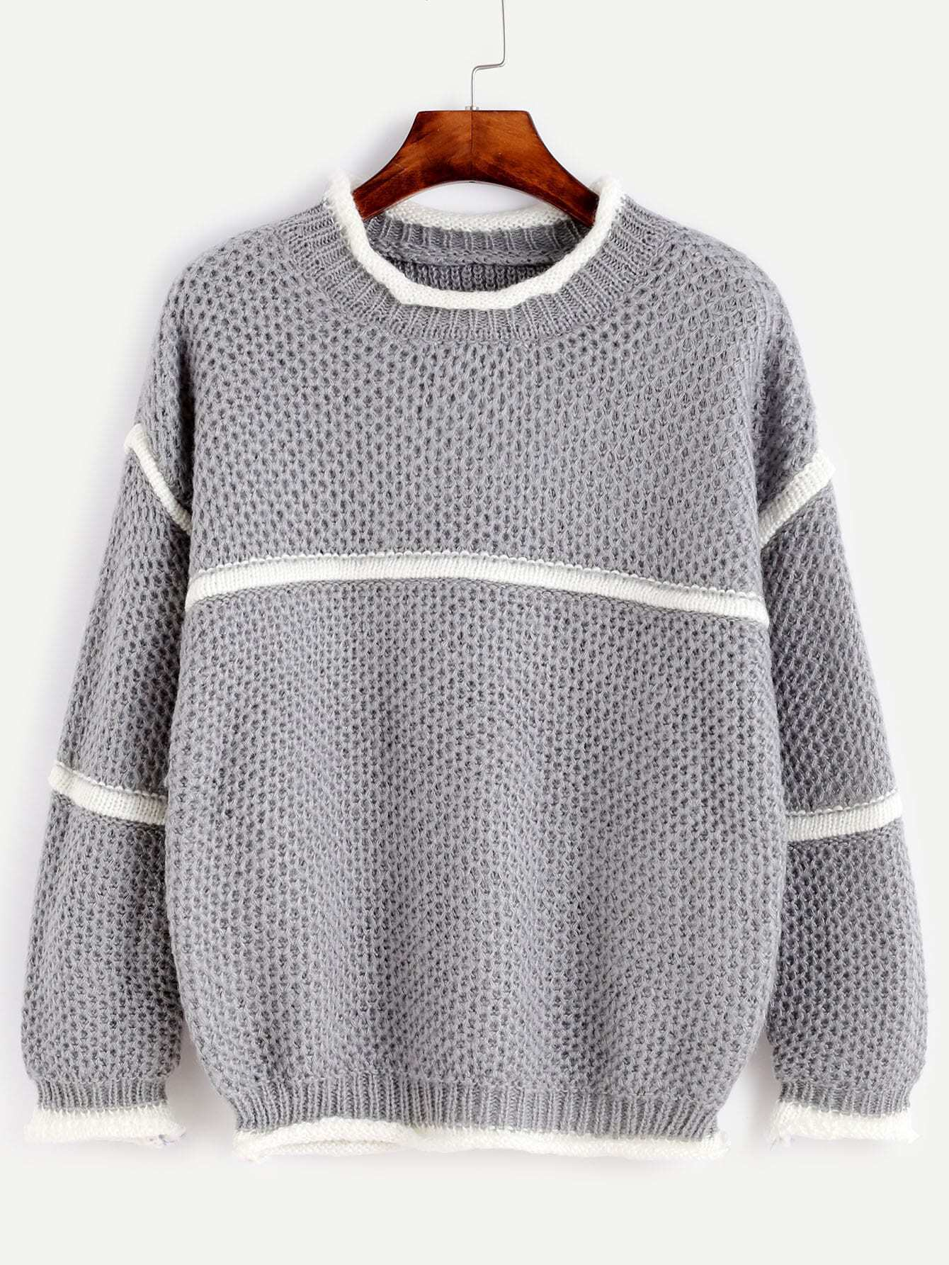 Grey Crew Neck Contrast Trim Drop Shoulder Sweater RKNI161007007