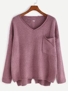 Purple V Neck High Low Hollow Back Pocket Sweater