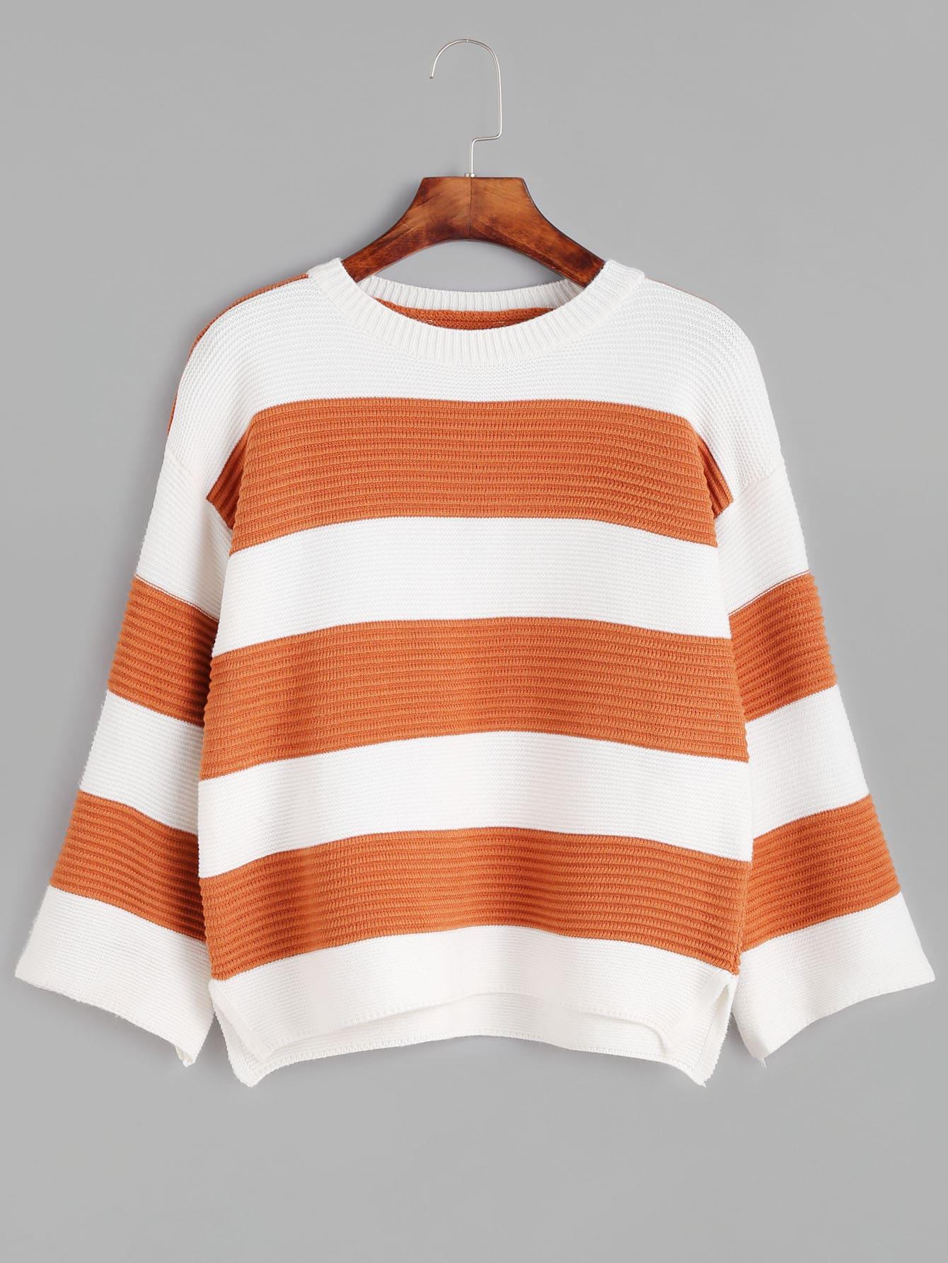 Wide Striped Dropped Shoulder Seam Sweater RKNI161007105