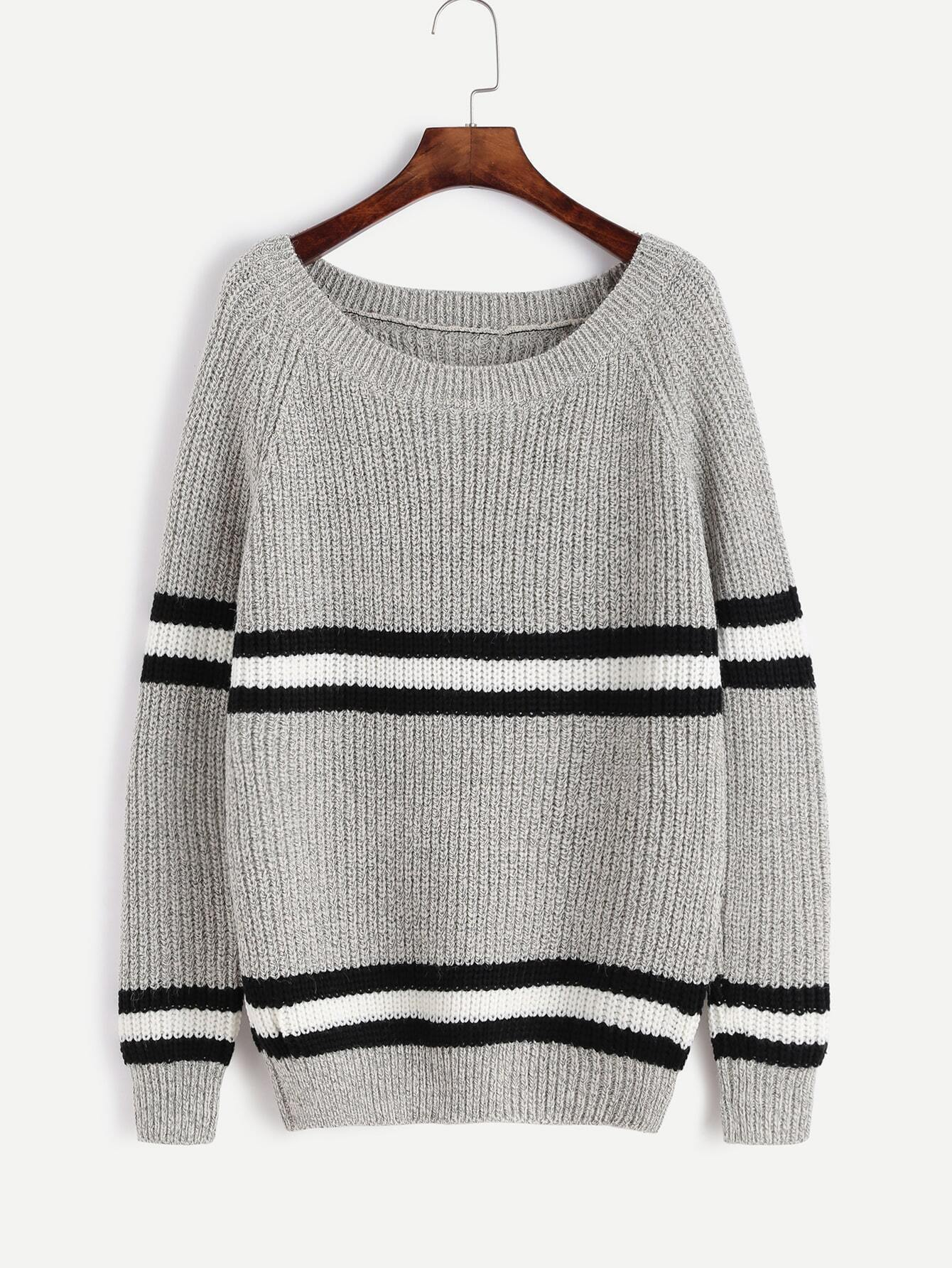 Grey Striped Trim Raglan Sleeve Sweater RKNI161007106