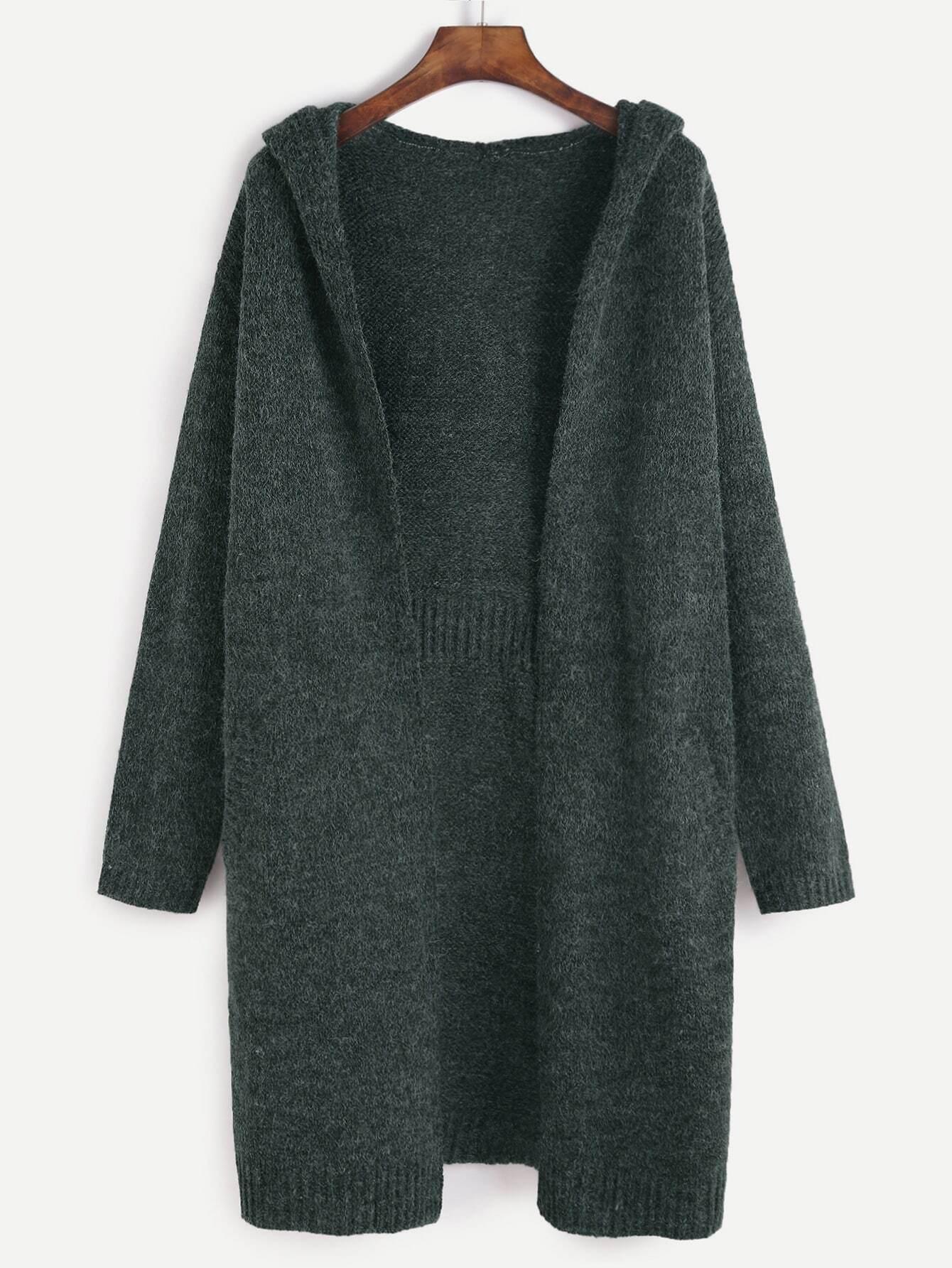 Dark Green Open Front Hooded Sweater Coat