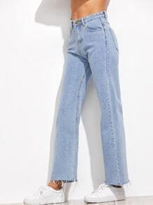 Light Blue Frayed Hem Loose Jeans