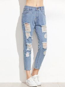 Light Blue Ripped Pockets Jeans