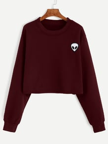 Burgundy Alien Embroidered Crop Sweatshirt
