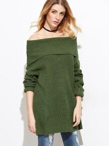 Army Green Fold Over Boat Neck Loose Sweater