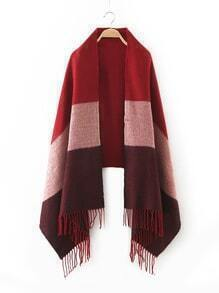 Red Tone Patchwork Fringe Edge Scarf