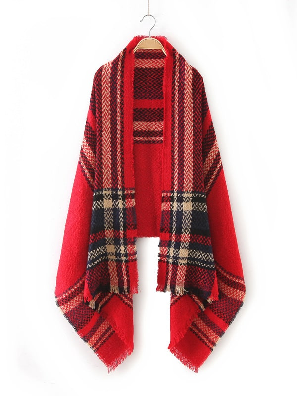 Red Plaid Raw Edge Scarf