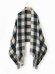 Green Checkered Fringe Edge Scarf