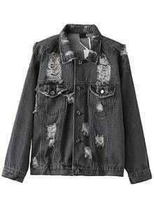 Jacket rotos denim con bolsillos - negro