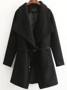 Black Shawl Collar Wool Blend Coat With Self Tie
