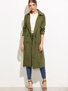 Army Green Double Breasted Coat With Pockets