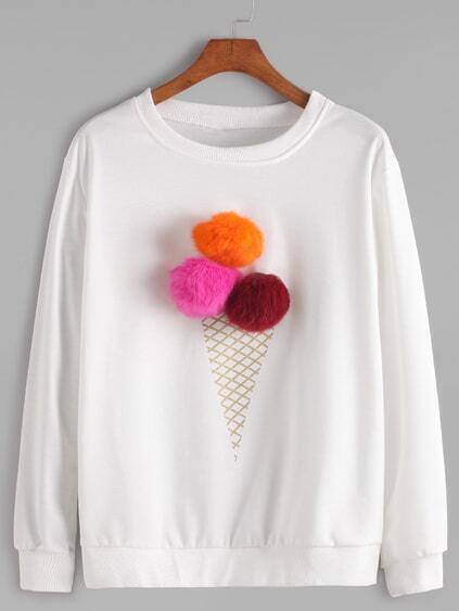 White Round Neck Pom Pom Sweatshirt
