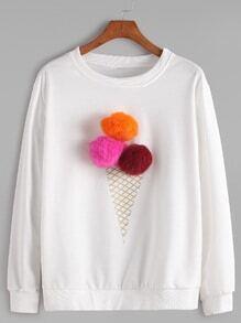 Sweatshirt mit Bommel Rundhals-weiß