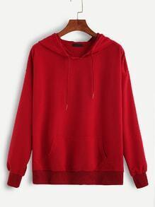 Red Hooded Drawstring Sweatshirt